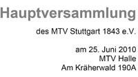 MTV Stuttgart 1843 e.V. - Hauptversammlung des MTV Stuttgart