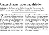 MTV Stuttgart 1843 e.V. - Ungeschlagen aber unzufrieden