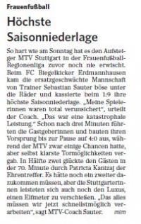 MTV Stuttgart 1843 e.V. - Höchste Saisonniederlage