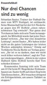 MTV Stuttgart 1843 e.V. - Nur drei Chancen sind zu wenig