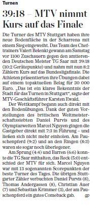 MTV Stuttgart 1843 e.V. - 39:18 �MTV nimmt Kurs auf das Finale