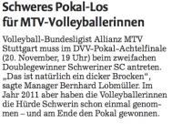 MTV Stuttgart 1843 e.V. - Volleyballer ziehen schweres Los