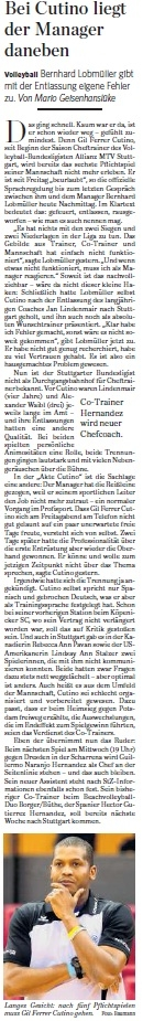 MTV Stuttgart 1843 e.V. - Bei Cutino liegt der Manager daneben