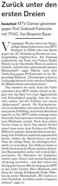 MTV Stuttgart 1843 e.V. - Zurück unter den ersten Dreien