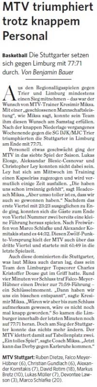 MTV Stuttgart 1843 e.V. - MTV triumphiert trotz knappem Personal