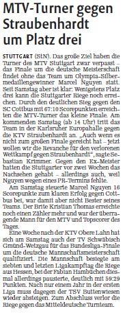 MTV Stuttgart 1843 e.V. - MTV-Turner gegen Straubenhardt um Platz drei