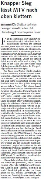 MTV Stuttgart 1843 e.V. - Knapper Sieg lässt MTV nach oben klettern