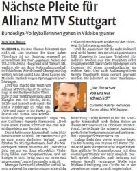 MTV Stuttgart 1843 e.V. - Nächste Pleite für Allianz MTV Stuttgart