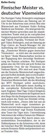 MTV Stuttgart 1843 e.V. - Finnischer Meister vs. deutscher Vizemeister