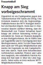 MTV Stuttgart 1843 e.V. - Knapp am Sieg vorbeigeschrammt