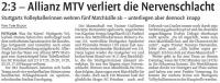 MTV Stuttgart 1843 e.V. - Allianz MTV verliert die Nervenschlacht