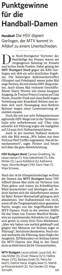 MTV Stuttgart 1843 e.V. - Punktgewinne für die Handball-Damen