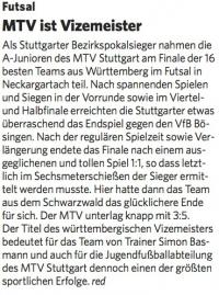 MTV Stuttgart 1843 e.V. - MTV ist Vizemeister