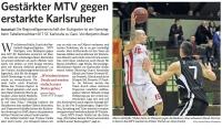 MTV Stuttgart 1843 e.V. - Gestärkter MTV gegen erstarkte Karlsruher