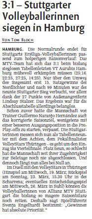 MTV Stuttgart 1843 e.V. - 3:1 – Stuttgarter Volleyballerinnen siegen