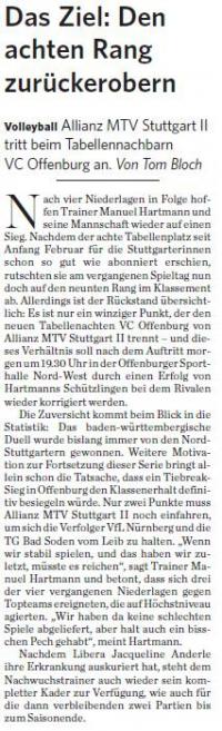 MTV Stuttgart 1843 e.V. - Das Ziel: Den achten Rang zurückerobern