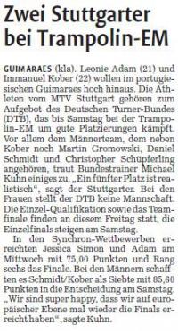 MTV Stuttgart 1843 e.V. - Zwei Stuttgarter bei Trampolin-EM