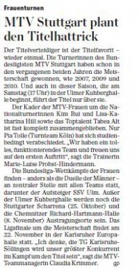 MTV Stuttgart 1843 e.V. - MTV Stuttgart plant den Titelhattrick