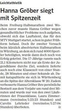 MTV Stuttgart 1843 e.V. - Hanna Gröber siegt mit Spitzenzeit