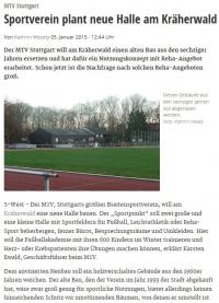 MTV Stuttgart 1843 e.V. - Sportverein plant neue Halle