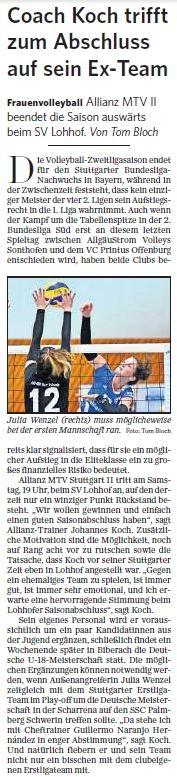 MTV Stuttgart 1843 e.V. - Coach Koch trifft zum Abschluss auf Ex-Team