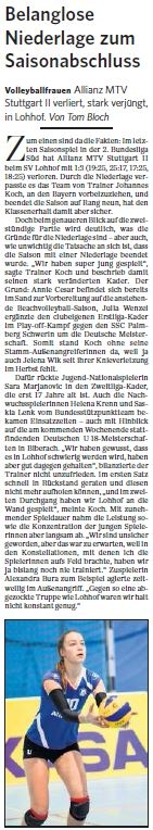 MTV Stuttgart 1843 e.V. - Belanglose Niederlage zum Saisonabschluss
