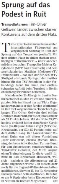 MTV Stuttgart 1843 e.V. - Sprung auf das Podest in Ruit