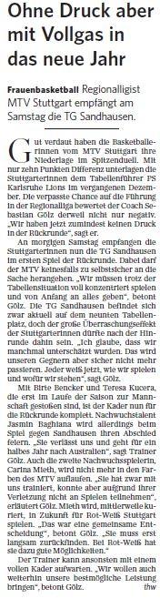 MTV Stuttgart 1843 e.V. - Ohne Druck aber mit Vollgas in das neue Jahr