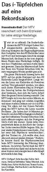 MTV Stuttgart 1843 e.V. - Das i-Tüpfelchen  auf eine  RekordsaisonvDas