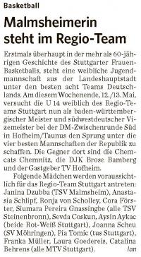 MTV Stuttgart 1843 e.V. - Malmsheimerin steht im RegioTeam