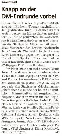 MTV Stuttgart 1843 e.V. - Knapp an der DM Endrunde vorbei