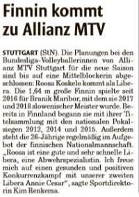 MTV Stuttgart 1843 e.V. - Finnin kommt zu Allianz MTV