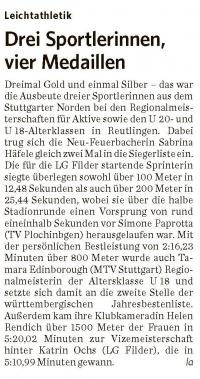 MTV Stuttgart 1843 e.V. - Drei Sportlerinnen, vier Medaillen