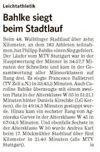 MTV Stuttgart 1843 e.V. - Bahlke siegt beim Stadtlauf