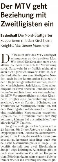 MTV Stuttgart 1843 e.V. - Der MTV geht Beziehung mit Zweitligisten ein