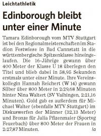 MTV Stuttgart 1843 e.V. - Edinborough bleibt unter einer Minute