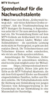 MTV Stuttgart 1843 e.V. - Spendenlauf für die Nachwuchstalente