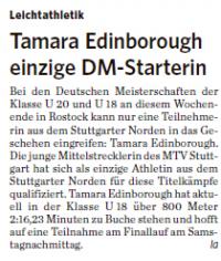 MTV Stuttgart 1843 e.V. - Tamara Edinborough einzige DM-Starterin