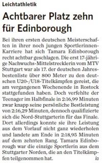 MTV Stuttgart 1843 e.V. - Achtbarer Platz zehn für Edinborough