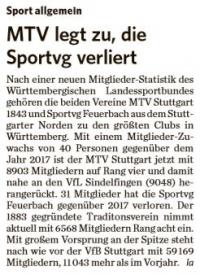 MTV Stuttgart 1843 e.V. - MTV legt zu, die Sportvg verliert