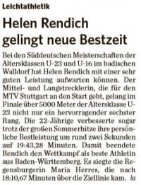 MTV Stuttgart 1843 e.V. - Helen Rendich gelingt neue Bestzeit