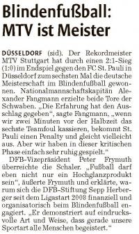 MTV Stuttgart 1843 e.V. - Blindenfußball: MTV ist Meister