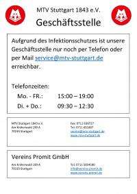 MTV Stuttgart 1843 e.V. - Erreichbarkeit der Geschäftsstelle